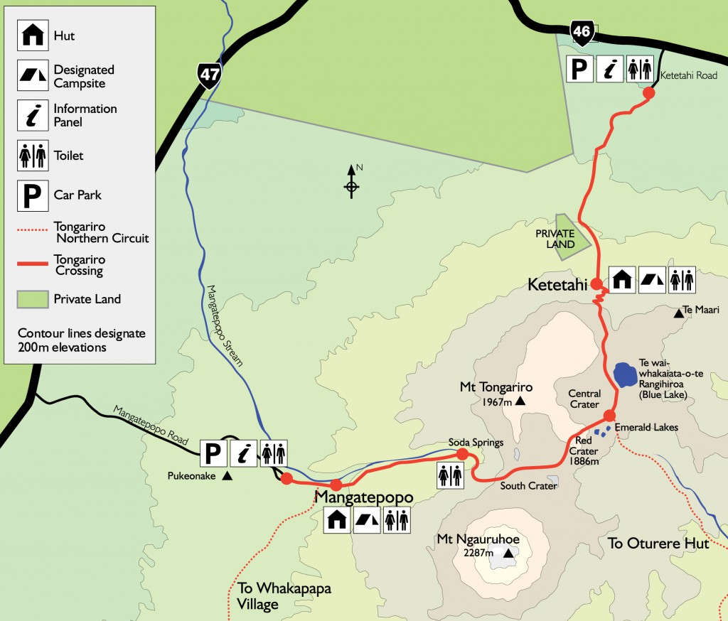 Tongariro Crossing Map